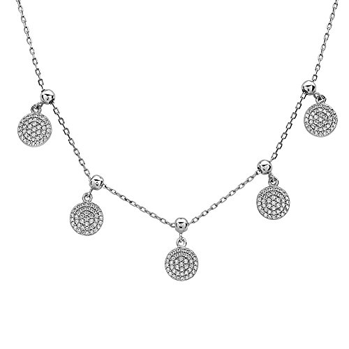 Dangling Pave Necklace (Pave Crystal Charm Fashion Necklace | 925 Sterling Silver Women's Five Dangling Pave Crystal Charms Necklace | 17 Inch Chain Included | NICKY by Crush + Fancy)