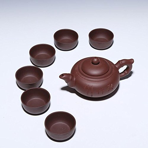 et, SWT 7 in 1 Teapot Set Handmade Yixing Zisha Purple Clay Teapot Sets Chinese Kongfu Tea Maker Tea Cooking Sets With 6 cups (Swt Pot)