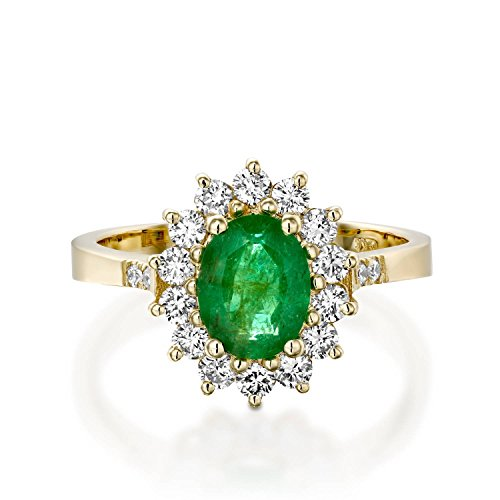 Emerald diamond Engagement gift for women 1 ct oval Natural Green Emerald with 14 Round diamonds total 0.55 Carat 14k Yellow Gold Diana Ring (Diamond Si3 Cut Solitaire Round)