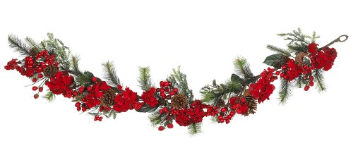 Nearly Natural 4663 Hydrangea Garland, 72-Inch, Red/Green (Nearly Hydrangea Natural)