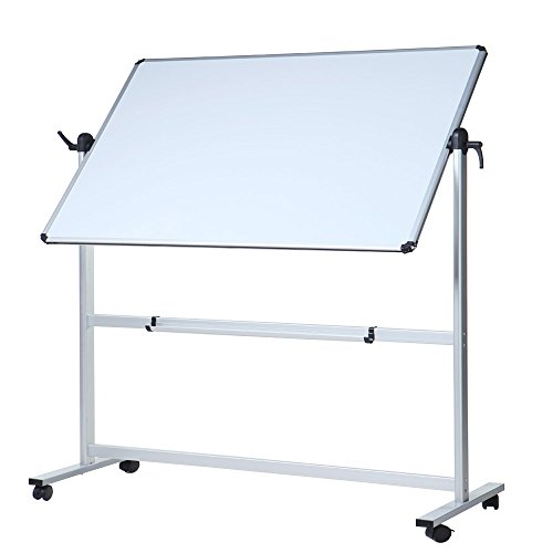 (VIZ-PRO Double-Sided Magnetic Mobile Whiteboard, Aluminium Frame and Stand)