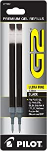 Pilot G2 Gel Ink Refill, 2-Pack for Rolling Ball Pens, Ultra Fine Point, Black Ink (77287)