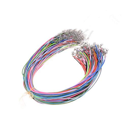 Noxus Bros Pack of 100 Pcs Assorted Color Waxed Cotton Necklace Cord Bulk with Clasp for Jewelry Making 20 ()