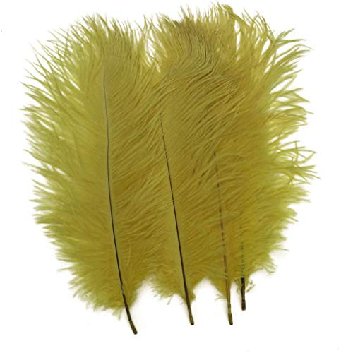 Shekyeon Yellow 10-12inch 25-30cm Ostrich Feather Home Decoration DIY Craft Pack of 10
