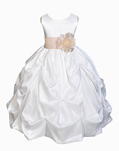 ekidsbridal White Taffeta Pick-up Bubble Flower Girl Dress Communion Dress Ball Gown 301S (Pickup Ball Gown)