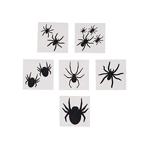 (Fun Express - Black Spider Tattoos for Halloween - Apparel Accessories - Temporary Tattoos - Regular Tattoos - Halloween - 72)