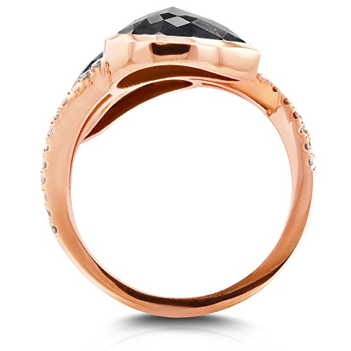 """Deux """"Pierre avec diamant noir 57/8ctw en or rose 18K _ _ _ _ 7,5"""