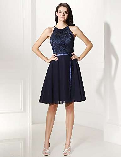 Women's Sleeveless Short Keyhole Neck Homecoming Blue Angelstormy Halter Tuck Navy Dress with REHndS