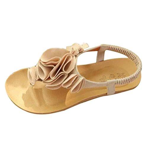 Ouneed ® Zapatos de mujer Bohemia flor dulce sandalias Clip del dedo del pie playa Beige