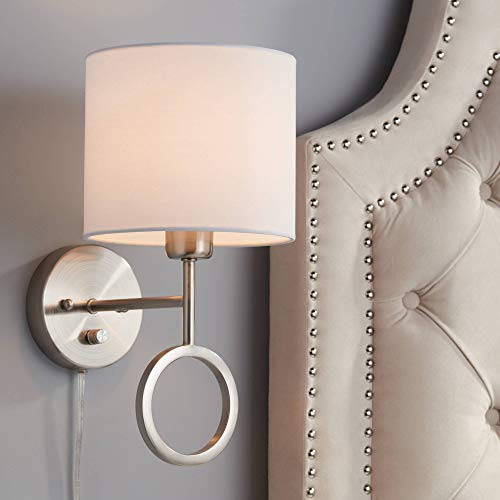 (Amidon Brushed Nickel Drop Ring Plug-in Wall Lamp - 360)