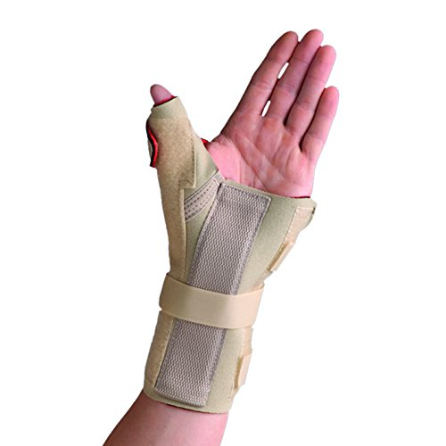 Thermoskin Medicine (Swede-O 82239 Thermoskin Carpal Tunnel Brace Wrist Support with Thumb Spica, Right, X-Small, Beige)