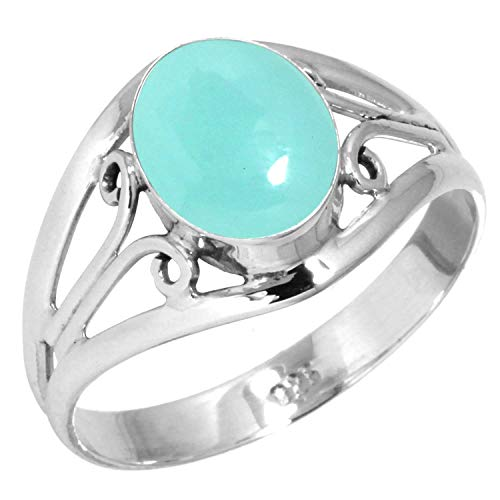 925 Sterling Silver Women Jewelry Natural Aqua Chalcedony Ring Size 7.5
