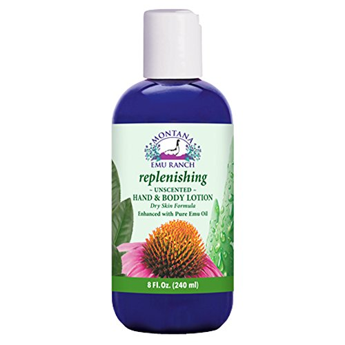 Montana Emu Ranch - Replenishing Hand and Body Lotion - 8 Ounce Bottle - Unscented Formula, Enhanced with Pure Emu (8 Ounce Emu Lotion)