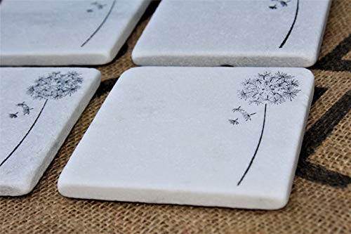 Wildflower Coasters, Dandelion Coasters, White Carrara Marble Tiles, Stamped Drink Coasters, Absorbent Stone Tiles, Summer -