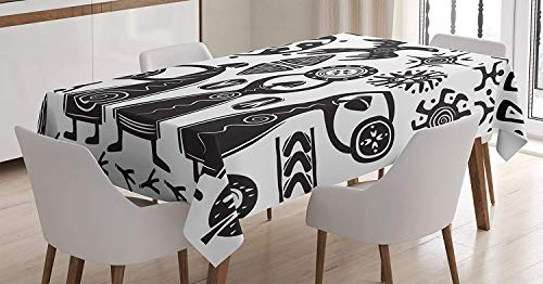 Primitive Decor Tablecloth,Dancing Shaman Eagle Sun Snake Figure Prehistoric Cave Drawing Folkloric Theme,Wedding Restaurant Great for Holiday Dinner,61W X 100L Inch White Black ()
