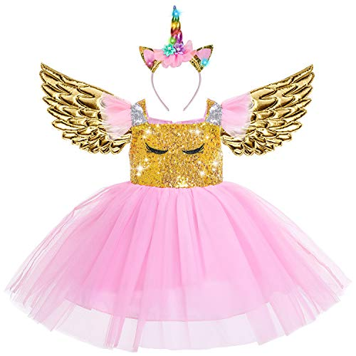 Beauta Unicorn Costume Cosplay Princess Dress up Birthday Pageant Party Dance Outfits Evening Gowns  (4-5 Years(Tag 120), -