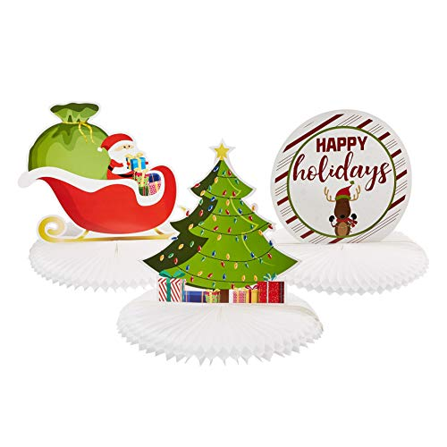 Christmas Honeycomb Decoration - 3-Pack 12-Inch Holiday Theme Centerpiece, Table Mantle Shelf Decor, Santa in Sleigh, Christmas Tree, and Happy Holidays Designs, 12 x 11 Inches