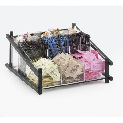 Calmil 1148-13 One by One Condiment Organizer, 14'' Length x 13'' Width x 6.5'' Height, Black by Cal Mil
