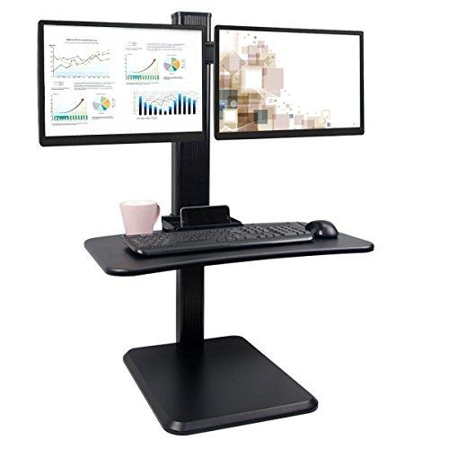 Style Riser (Dalinus Black Dual Ergonomic Monitor Standing Desk Riser | Practical style | Stand Up Desk Converter | Workstation for Home/Office)