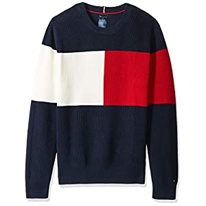 Tommy Hilfiger Men's Adaptive Sweater with Hook and Loop Fastener at Shoulders