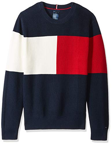 Tommy Hilfiger Men's Adaptive Sweater with Hook and Loop Fastener at Shoulders, Navy Blazer/Multi, LG
