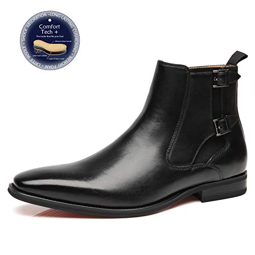 Leather Boot Dress Black (La Milano Mens Leather Chelsea Boots Winter Comfortable Formal Dress Monk Strap Ankle Chukka Buckle Slip On Boots)