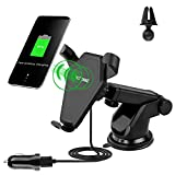 Wireless Car Charger for iPhone X, iPhone 8 Plus/ 8, and Other Qi-Enabled Devices , Provides Fast-Charging for Galaxy S8/ S8+/ S7 / S7 edge / S6 edge+, and Note 5-Black