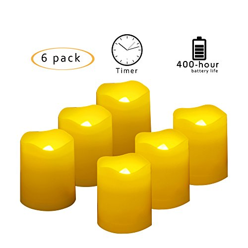 Battery Operated LED Votive Candles with Timer Realistic Flickering Flameless Tea Lights Set Bulk for Thanksgiving Christmas Party Wedding Decorations 6 Pack Long Lasting 400 Hours Batteries Included
