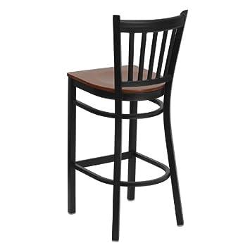 Flash Furniture HERCULES Series Black Vertical Back Metal Restaurant Barstool – Cherry Wood Seat