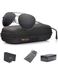 a5fda239b0e8 Men Women Aviator Sunglasses Polarized Non-Mirrored Grey Lens Metal Frame  UV 400 Protection