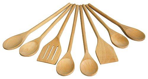 Spoons Wooden Wash (Mountain Woods UW8S Wooden Utensil Set, 8 Piece, 14 x 4 x 2)