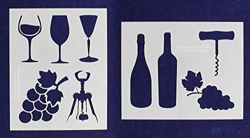 Wine Stencils - 2 Piece Set - 8 x 10 Inches