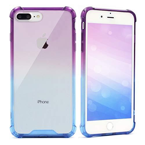 for iPhone 7 Plus Case,iPhone 8 Plus Case,Blue Purple Gradient Color Hard Plastic Back Cover Shock-Absorption TPU Soft Edge Bumper Anti-Scratch Rigid Slim Protective Cases for iPhone 7 Plus /8 Plus