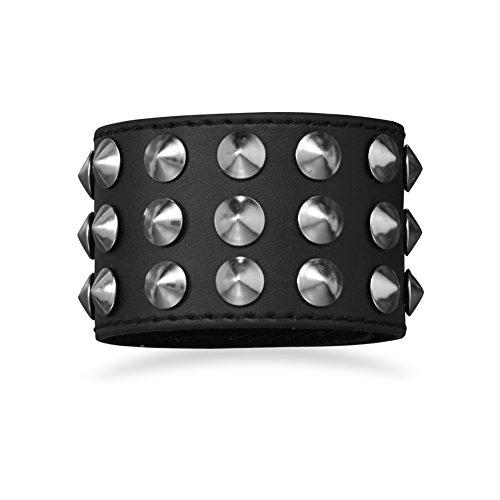 Wide Black Leather Studded Spiked Men's Bracelet Adjustable Length