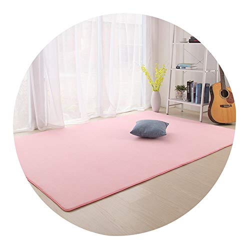 Lady Night Camo Fleece Solid Color Carpet for Living Room Kitchen Bathroom Kids Room Pad Anti-Skid Machine Wash Mats,Sakura Pink,80X160Cm
