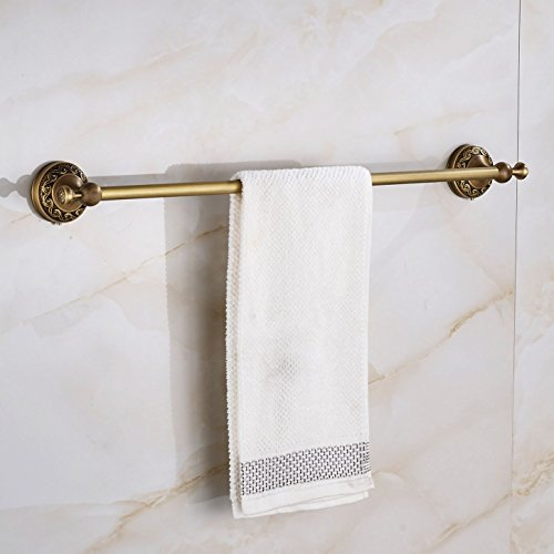 Rozin Wall Mount Bathroom Single Towel Bar Antique Brass (Towel Bar Bathroom Accessory Antique)