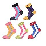 Zmart Women's Fun Colorful Striped Cats Cotton Christmas Toe Socks