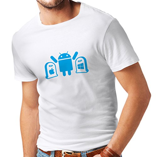T shirts for men The Winner is Android - funny gag gifts, tech gadgets fan (X-Large White Blue)