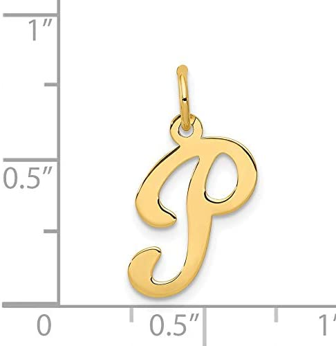 Mireval 14k Yellow Gold Die Struck Initial P Charm 11 x 20 mm