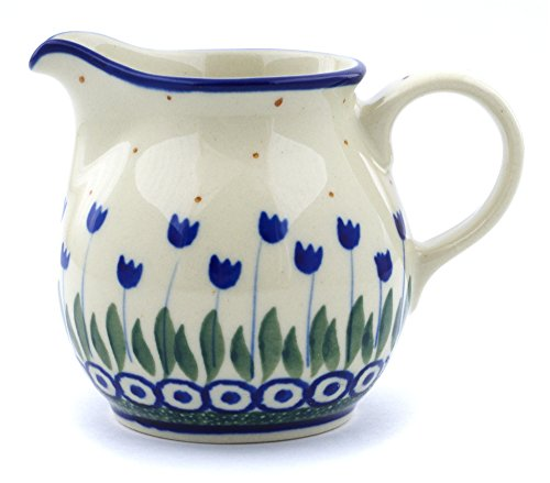 Polish Pottery Small Pitcher made by Ceramika Artystyczna (Water Tulip Theme) + Certificate of Authenticity