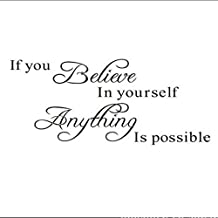 Weksi® If You Believe in Yourself Anything Is Possible Removable Wall Decal Sticker DIY Art Decor Mural Vinyl Home Room Office Decals