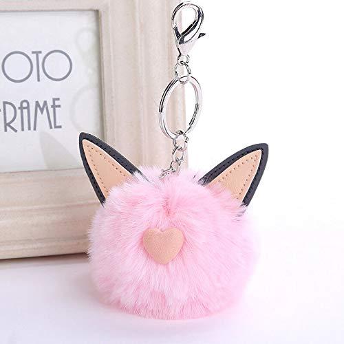 Pompom Fluffy Ears Keychain Faux Rabbit Fur Women Car Pendant Key Ring Jewelry (Color - ()