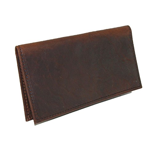 Boston Leather Unisex Textured Bison Leather Checkbook Cover, Check Book Protection Dark Pecan - Prima Checkbook Wallet