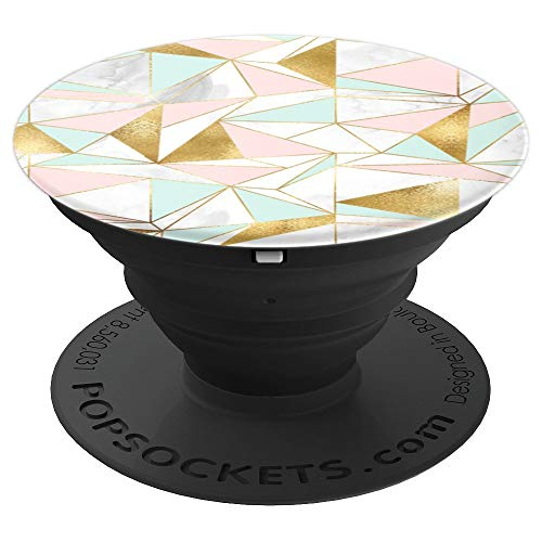 Pop Sockets - Mint White Pink Marble Geometric Design - PopSockets Grip and Stand for Phones and Tablets ()