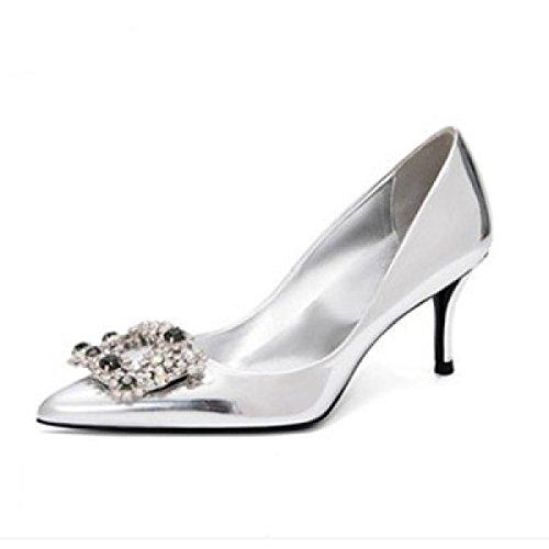 Womens Sexy Strass High Heels Sommer SandalenArbeits Pumps Damen Elegante Brautjungfer Spitz Schuhe Silver6CM