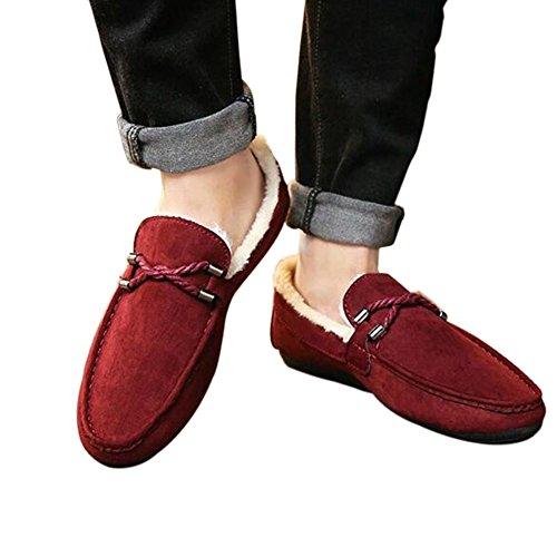 Hzjundasi Hombres Mocasines de ante de invierno Mocasines planos con suela de goma Zapatos bajos Zapatos de piel Rojo