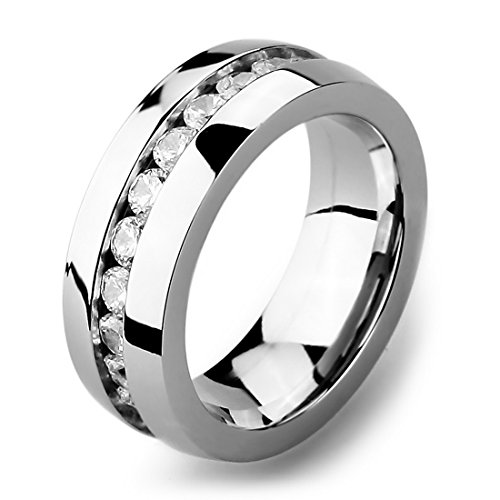INBLUE Men's Wide 8mm Stainless Steel Eternity ring Band CZ Silver Tone Wedding Size8 ()