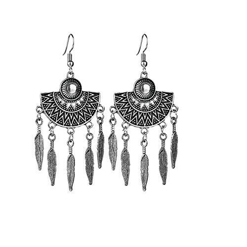 Women Girls Retro Stud Earrings Fashion Ethnic Tassel Holiday Party Prom Long Drop Earrings Jewelry -