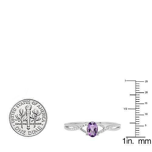 10K White Gold 6X4 MM Gemstone & White Diamond Bridal Swirl Engagement Promise Ring