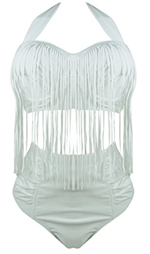 Plus tamaño Retro Alta Cintura trenzado Fringe Top Bikini trajes de baño para las mujeres Blanco